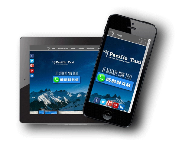 Pacific Taxi Morzine on tablets and smartphones